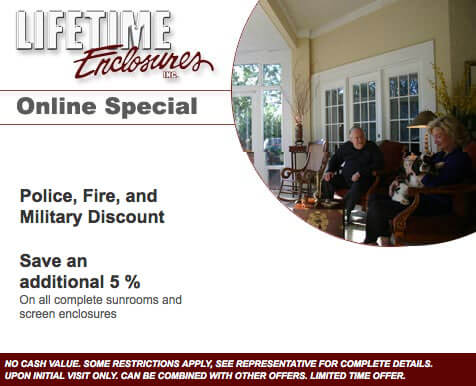 Lifetime Enclosures Online Special: Police, Fire, and Military Discount - Save an additional 15%